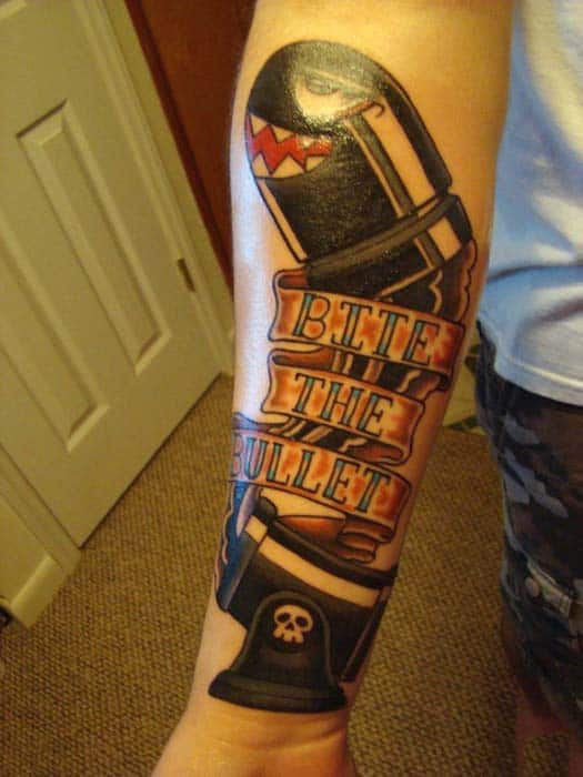 Bite The Bullet Cannon Mens Forearm Tattoos