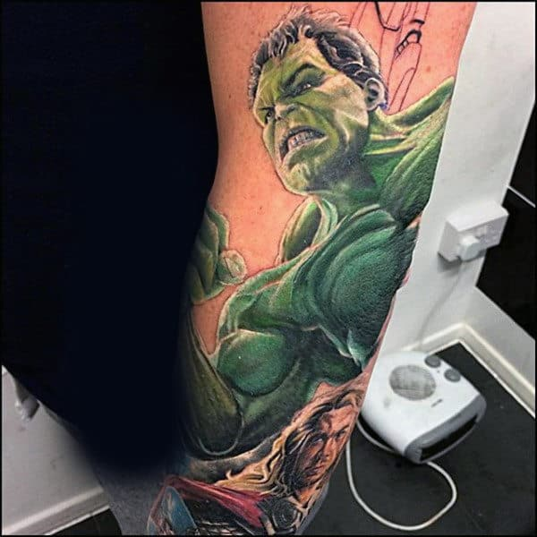 Biting Teeth Angry Hulk Tattoo Male Forearms