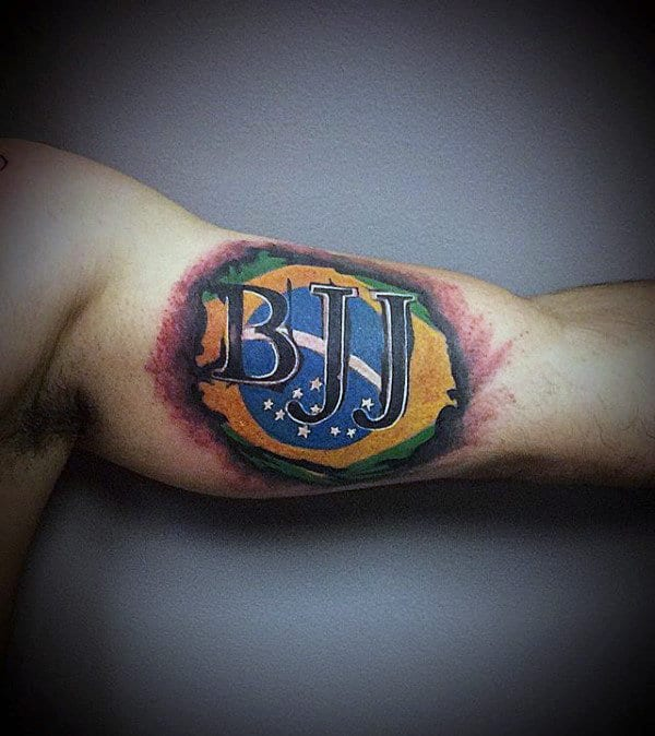 Bjj Mens Jiu Jitsu Inner Arm Bicep Flag Tattoo
