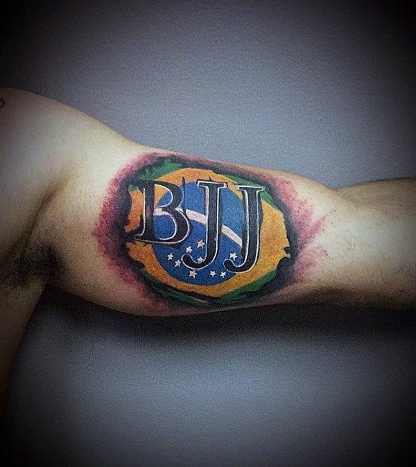 Bjj Mens Jiu Jitsu Inner Arm Bicep Flag Tattoo
