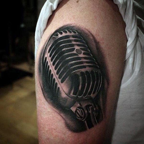 Black 3D Mic Tattoo Male Arms