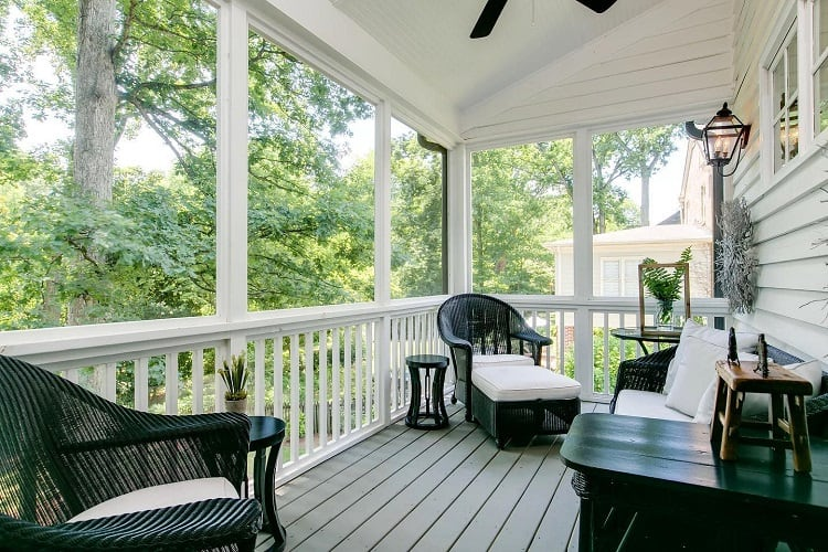 Black An White Veranda Screened In Porch Chinteriors