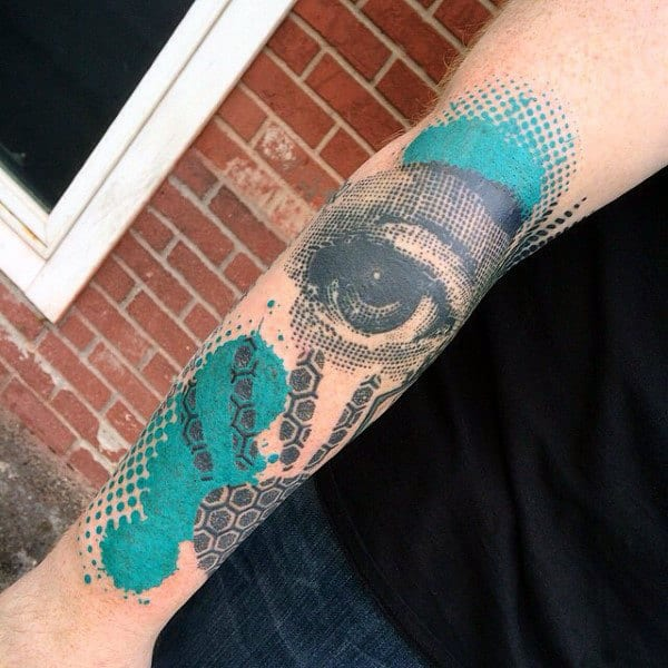 Black And Cobalt Dotted Design Eye Tattoo Mens Forearm