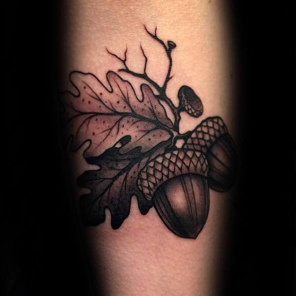 Black And Dark Grey Acorn Mens Arm Tattoos