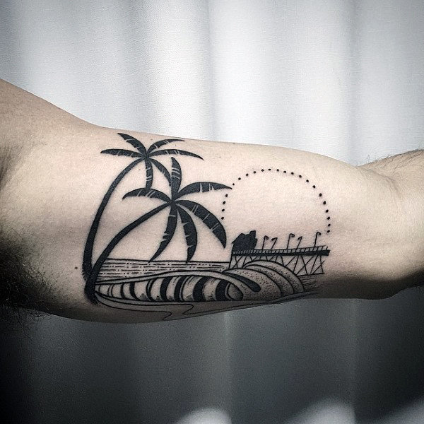 Black And Gey Surf Tattoo With Palm Trees Male Forearms