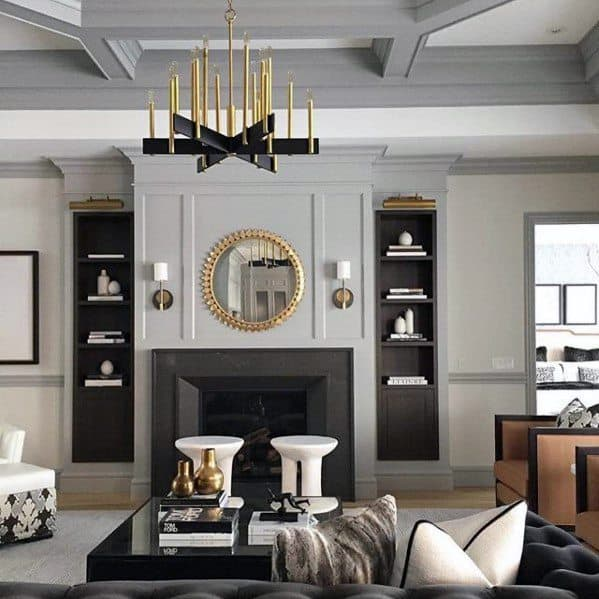 Black And Gold Chandelier Impressive Living Room Lighting Ideas