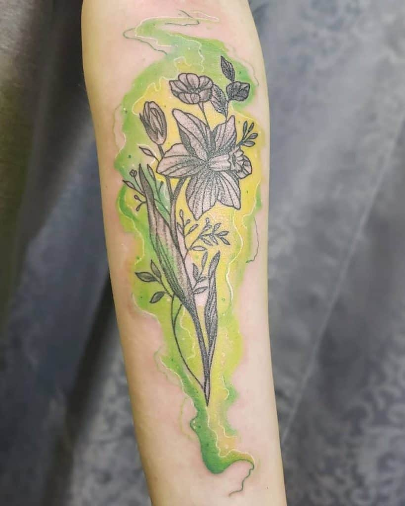 Black And Gray Flowers Watercolor Green Yellow Fill Color Daffodil Tattoo