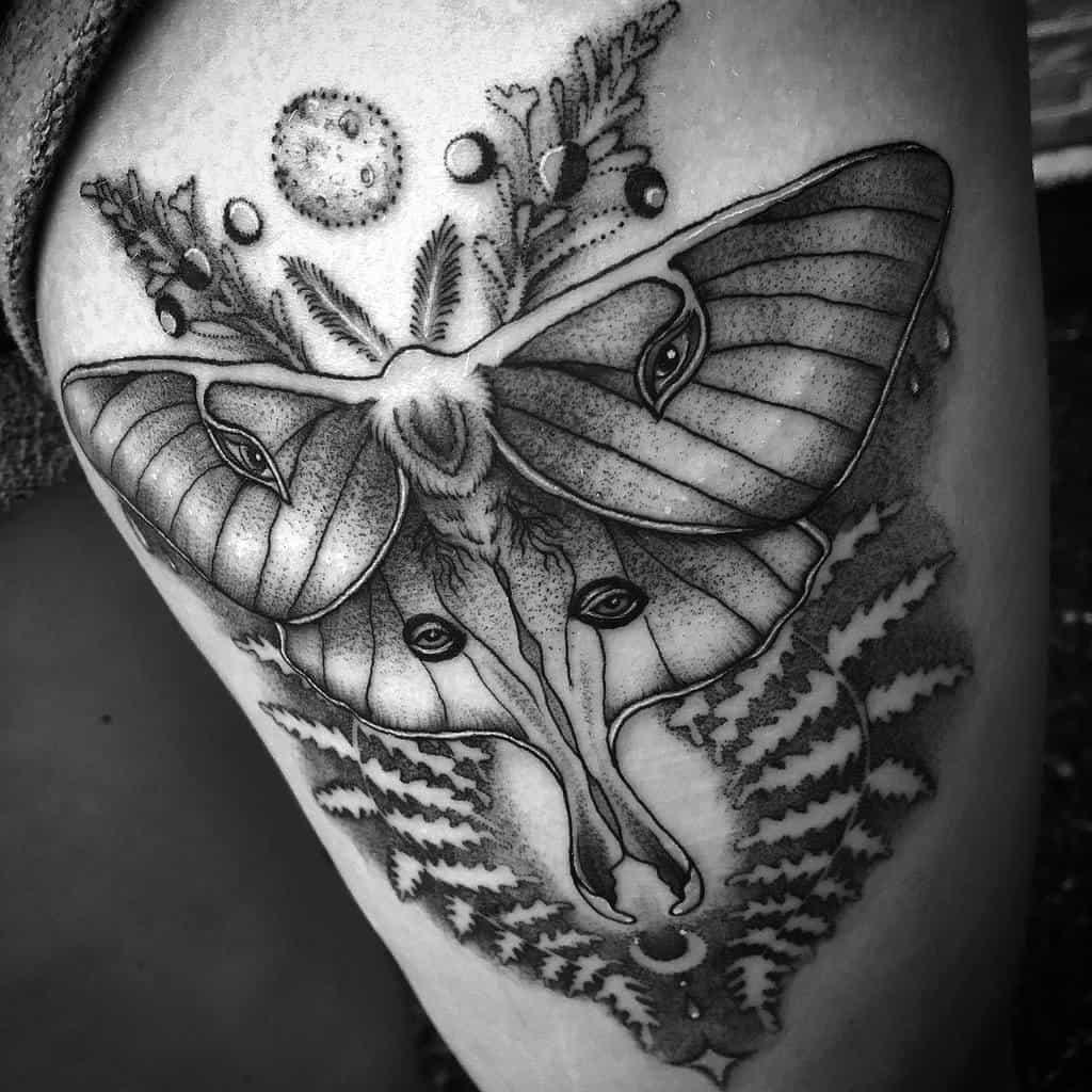 Black And Gray Luna Moth Tattoo Hollow Moon Tattoo