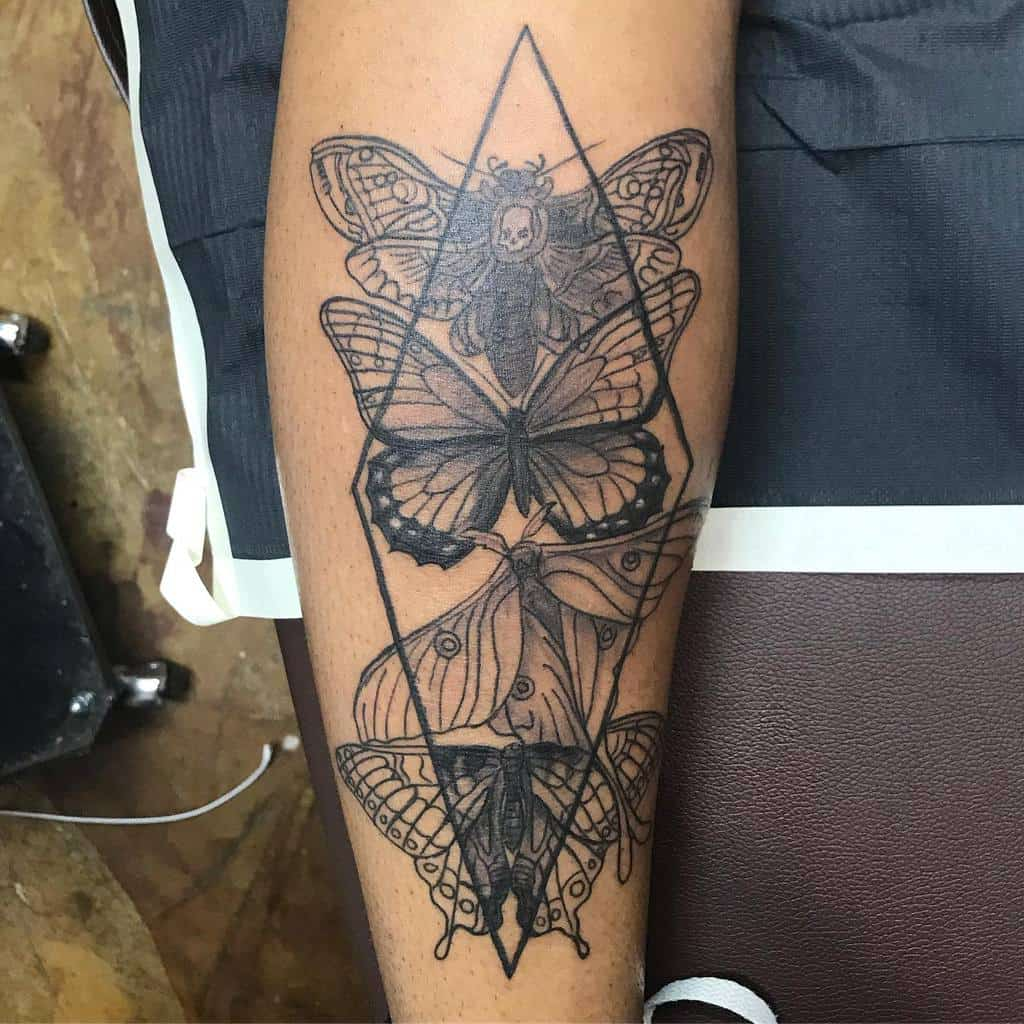 Black And Gray Luna Moth Tattoo Tattoosandartbyroni