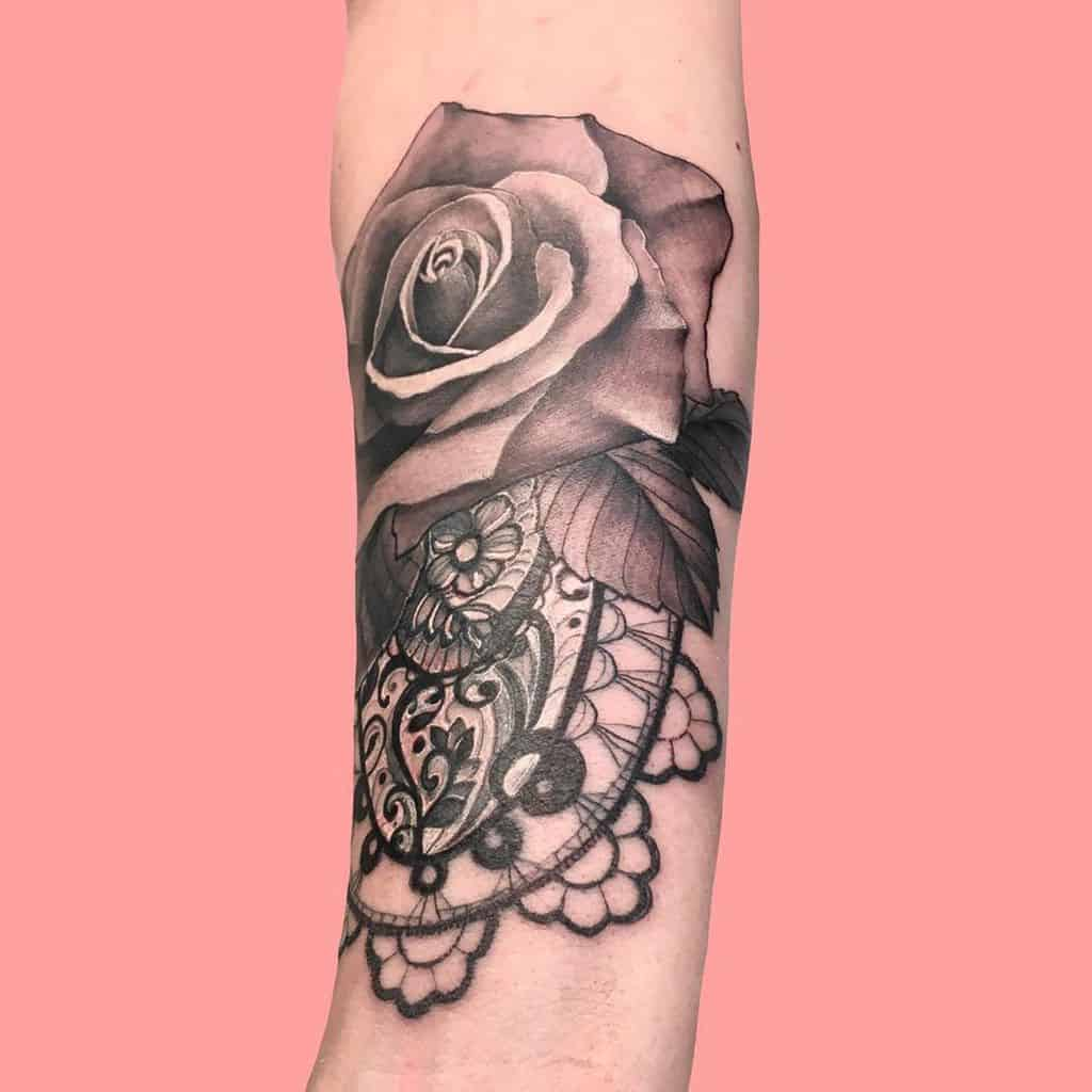 Black And Gray Rose Lace Tattoo
