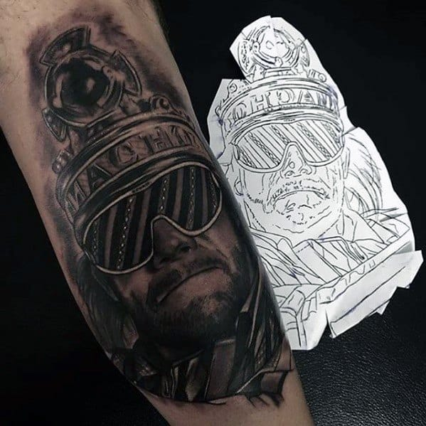 Black And Grey 3d Leg Wrestling Male Tattoo Ideas