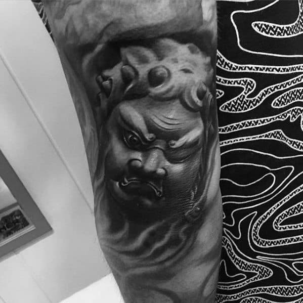 Black And Grey 3d Realistic Fudo Myoo Tattoo Ideas On Guys