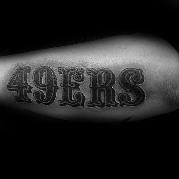 Black And Grey 49ers Word Outer Forearm Football Tattoos For Men