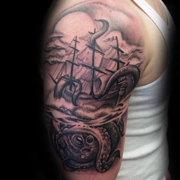 Black And Grey Arm Kraken Male Tattoos