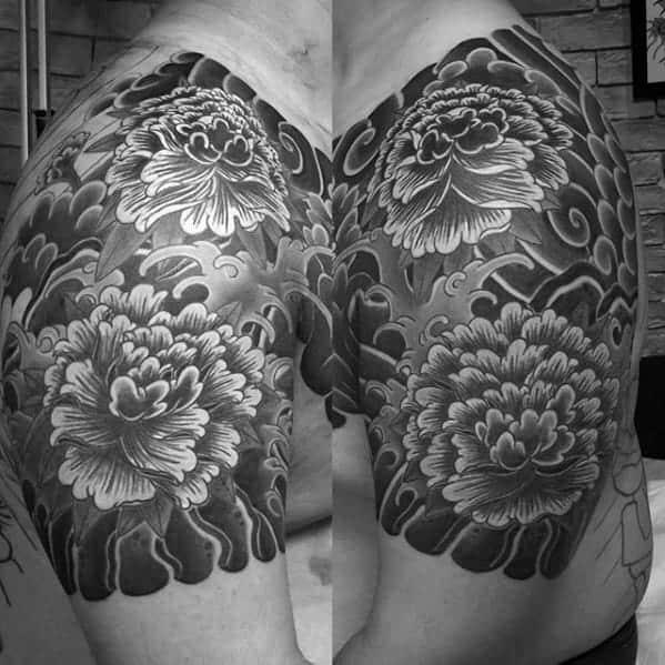 black-and-grey-carnation-flower-male-japanese-quarter-sleeve-tattoos