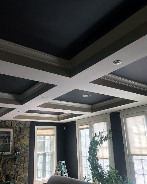 Black And Grey Coffered Ceiling Ideas