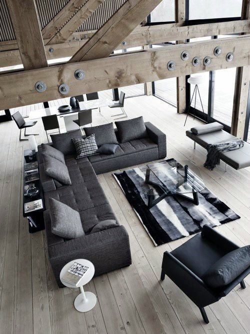 Black And Grey Color Bachelor Pad Furniture Ideas