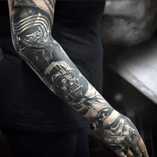 Black And Grey Darth Vader Male Full Sleeves