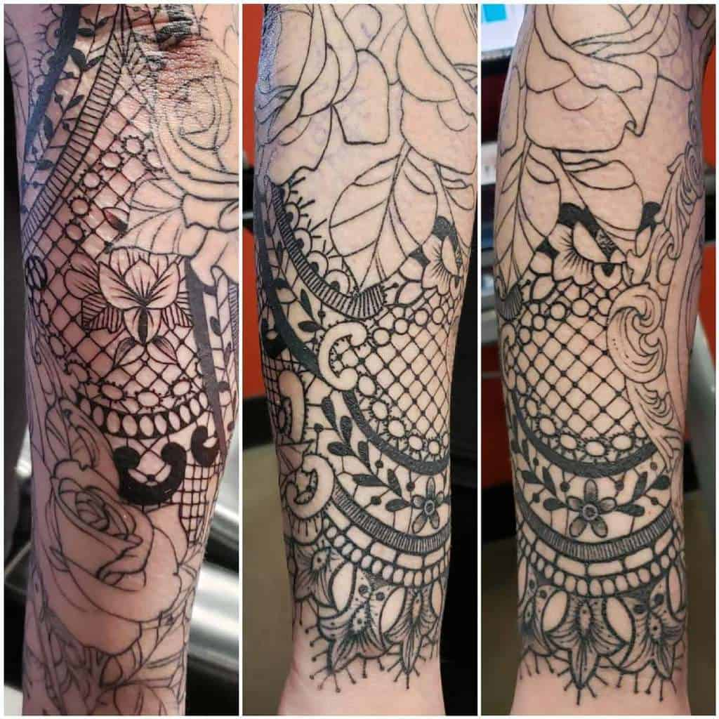Black And Grey Floral Lace Tattoo