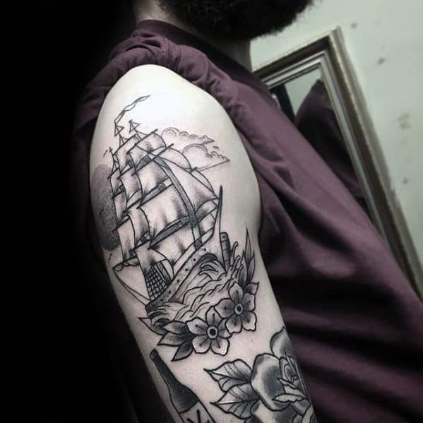 Black And Grey Flower With Ship Traditional Guys Arm Tattoos