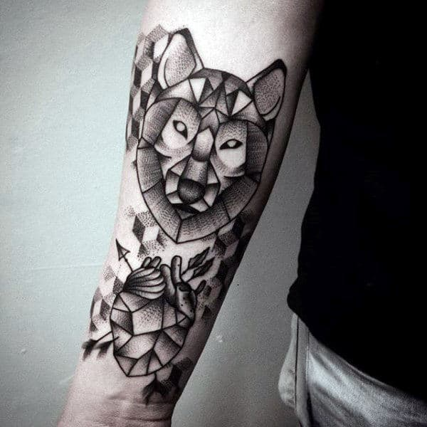 Black And Grey Geometric Wolf Shaded Mens Inner Forearm Tattoo Ideas