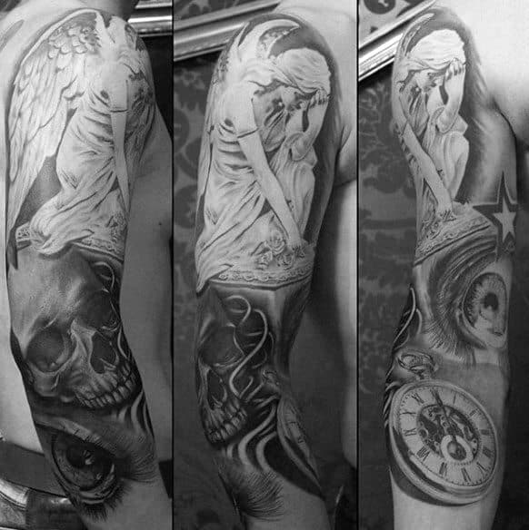 Black And Grey Half Sleeve Angel Statue Tattoo Ideas For Males