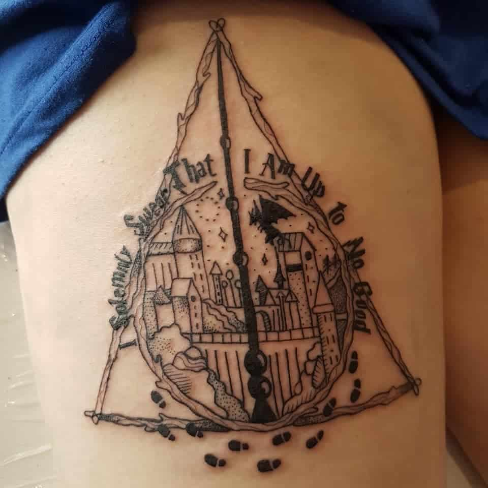 black and grey harry potter deathly hallows tattoo