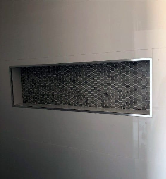 Black And Grey Hexagon Small Tile Shower Niche Ideas