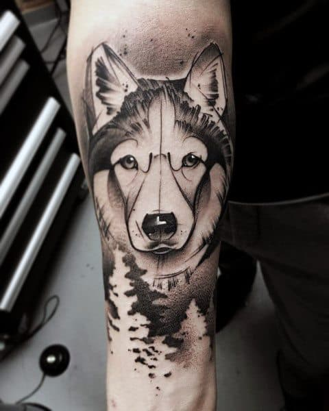 Black And Grey Husky Tattoos For Men