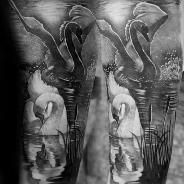 Black And Grey Ink Awesome Swan Tattoos For Men