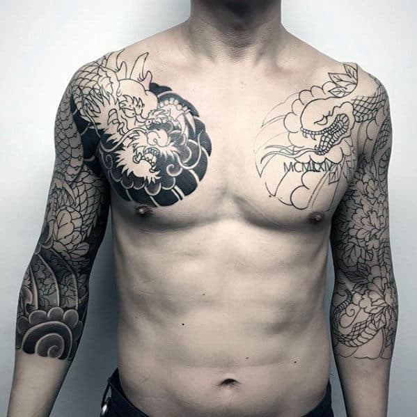 Black And Grey Ink Dragon And Snake Half Sleeve Japanese Tattoos For Gentlemen