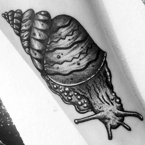 Black And Grey Ink Forearm Snail Tattoo Ideas For Males