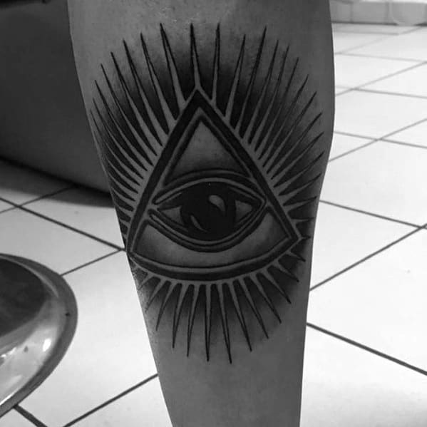Black And Grey Ink Glowing Eye Of Providence Mens Leg Tattoo