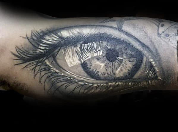 Black And Grey Ink Guys Realistic Eye Shaded Arm Tattoo Design Ideas