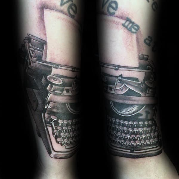 Black And Grey Ink Guys Typewriter Forearm Tattoos