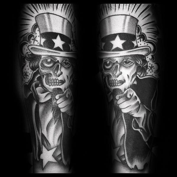 Black And Grey Ink Guys Uncle Sam Tattoo Design Ideas