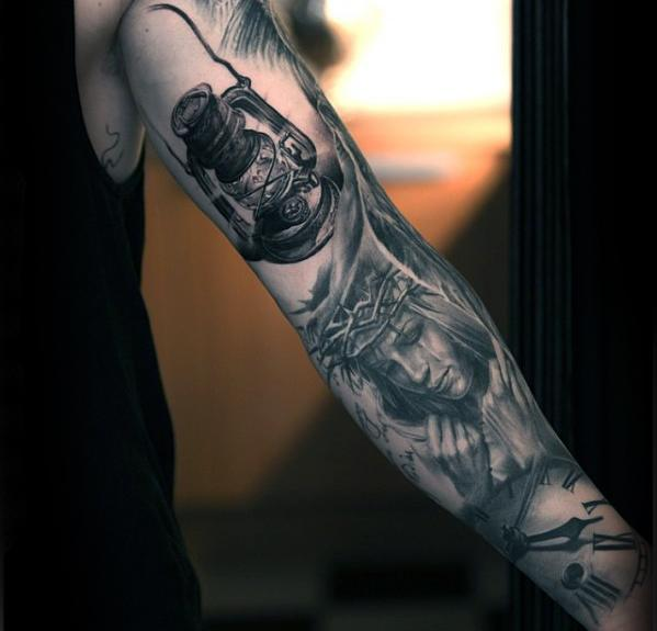 Black And Grey Ink Inner Arm Lantern Male Tattoo Ideas