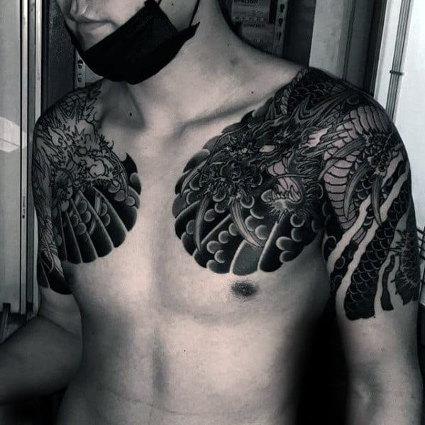 Black And Grey Ink Japanese Shoulder Dragon Tattoos For Men
