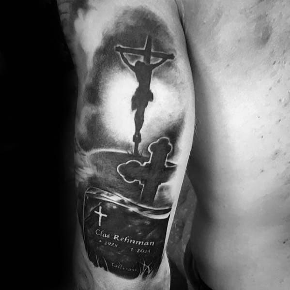 Black And Grey Ink Jesus Memorial Grave With Cross Mens Arm Tattoo