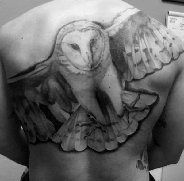 Black And Grey Ink Male Barn Owl Back Tattoo