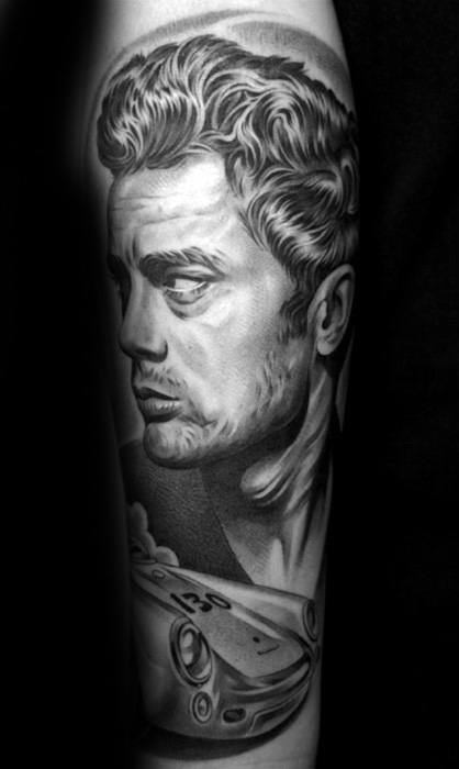 Black And Grey Ink Male James Dean Tattoo Ideas