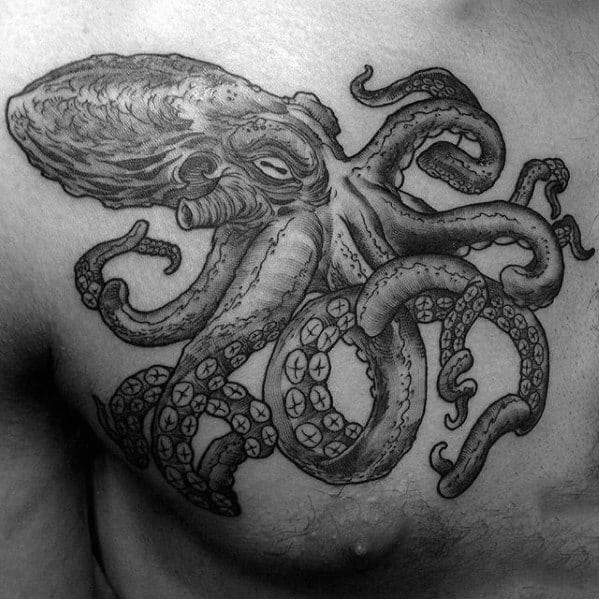 Black And Grey Ink Male Octopus Tattoo Designs On Upper Chest
