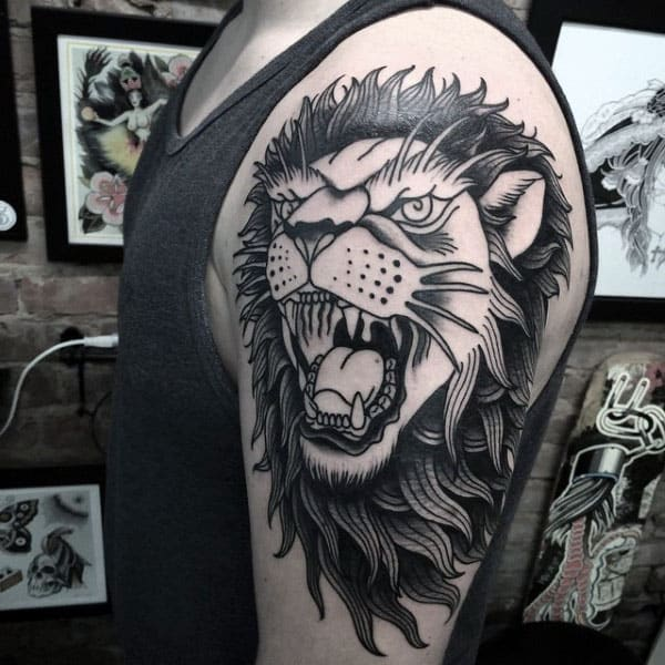 Black And Grey Ink Male Traditional Arm Lion Tattoos