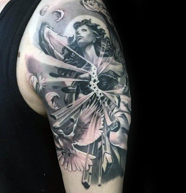 Black And Grey Ink Mens 3d Angel Arm Tattoo