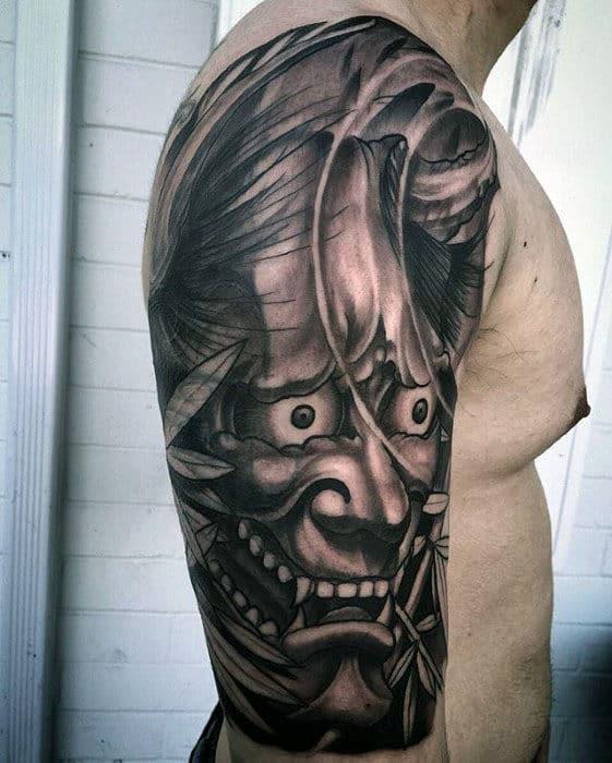 Black And Grey Ink Mens Half Sleeve Japanese Demon Mask Tattoo Ideas