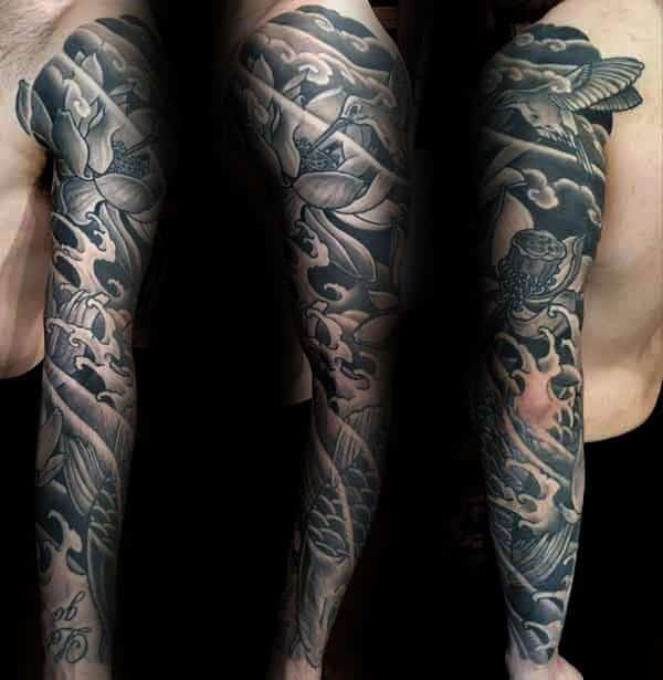 Black And Grey Ink Mens Lotus Flower Full Sleeve Tattoos