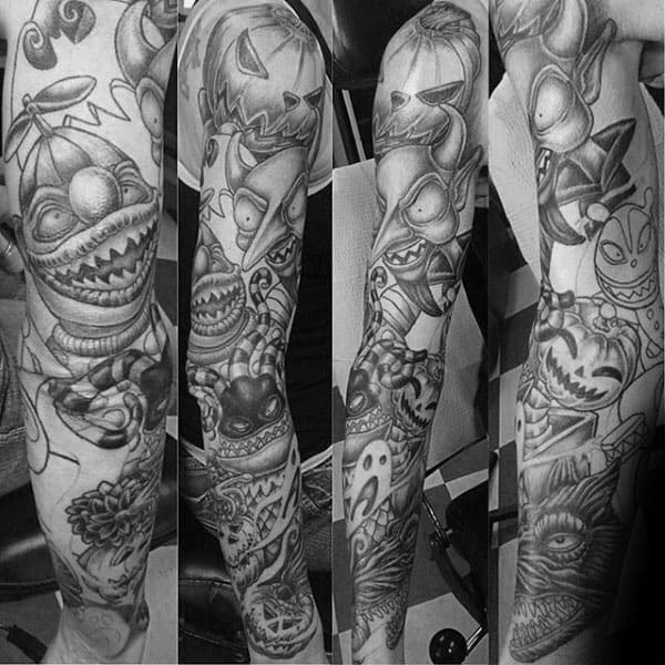 Black And Grey Ink Night Before Christmas Themed Sleeve Tattoos For Males