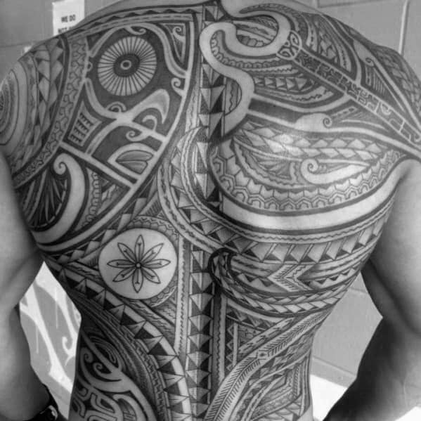 Black And Grey Ink Shaded Full Back Unique Mens Badass Tribal Tattoos
