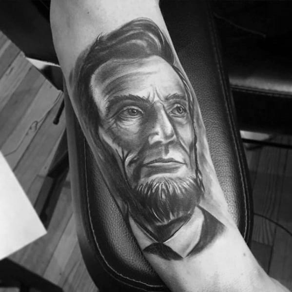 Black And Grey Ink Shaded Inner Forearm Cool Male Abraham Lincoln Tattoo Designs
