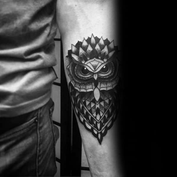 Black And Grey Ink Shaded Mens Pattern Geometric Owl Forearm Tattoo